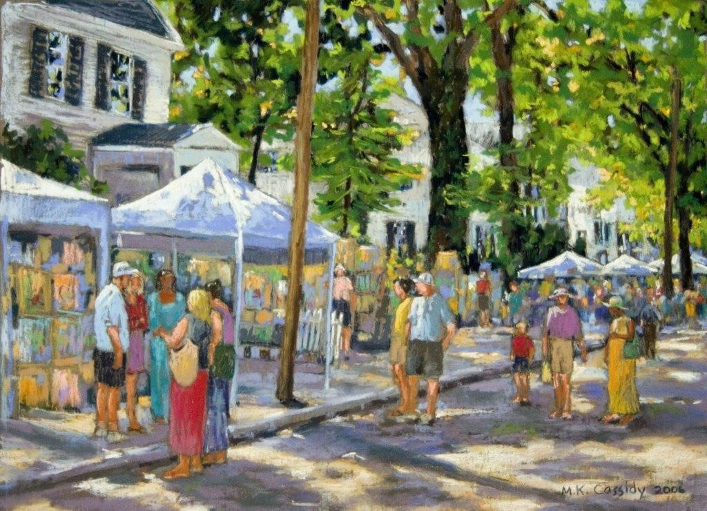painting of people at a festival